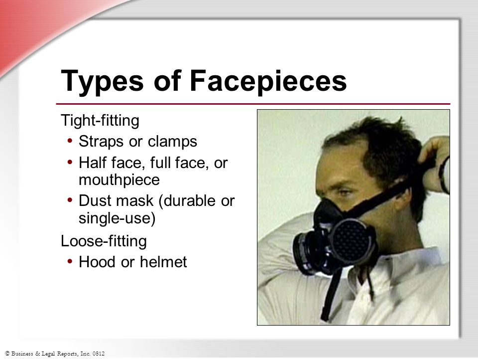 Types of Facepieces Tight-fitting Straps or clamps