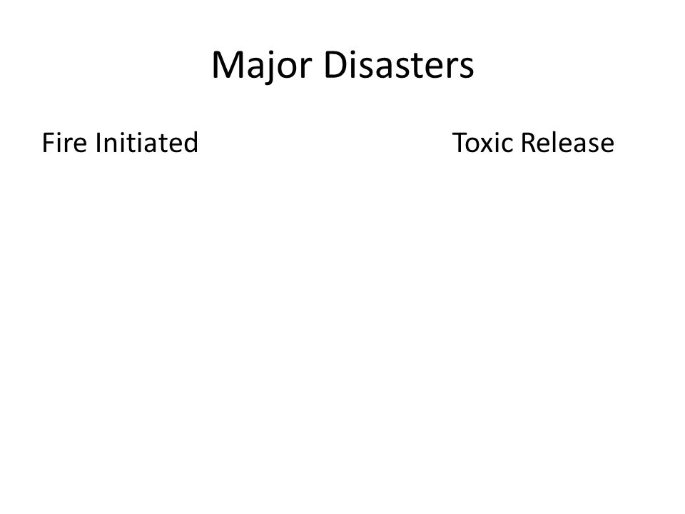 Major Disasters Fire Initiated Toxic Release