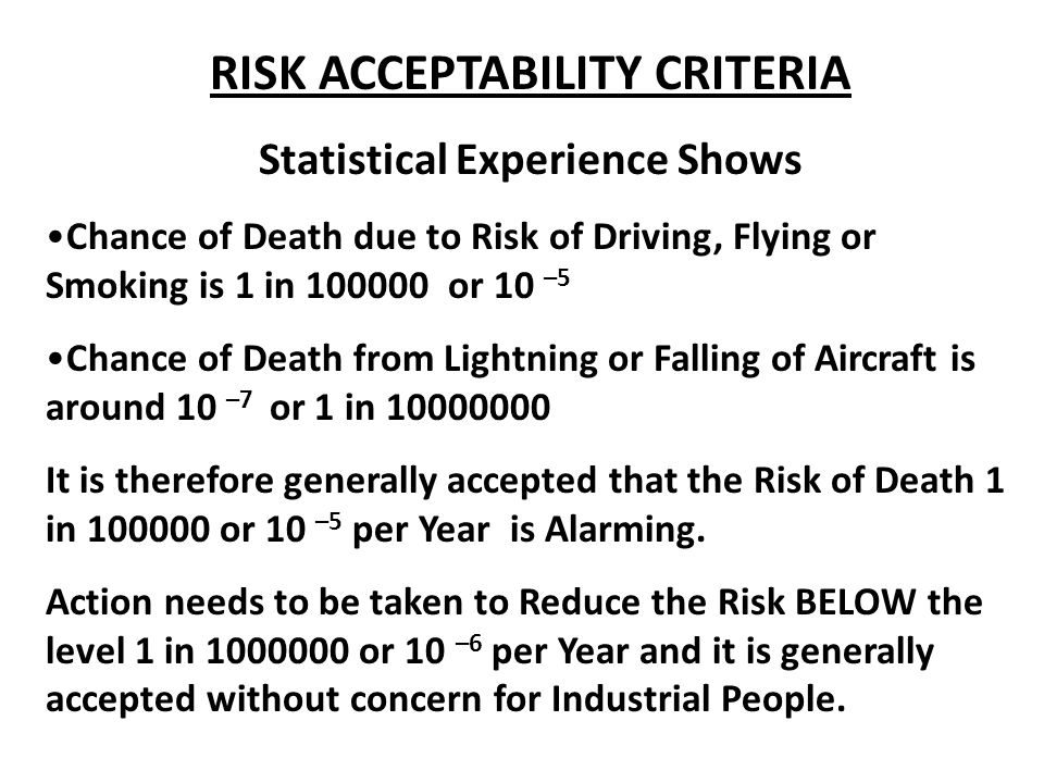 RISK ACCEPTABILITY CRITERIA Statistical Experience Shows