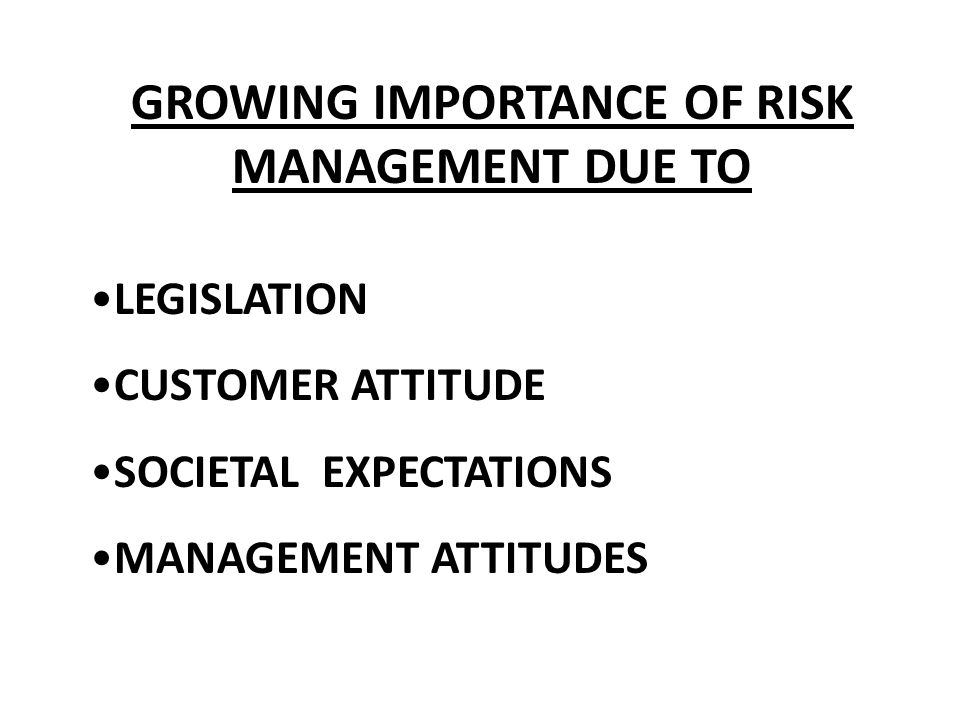 GROWING IMPORTANCE OF RISK MANAGEMENT DUE TO