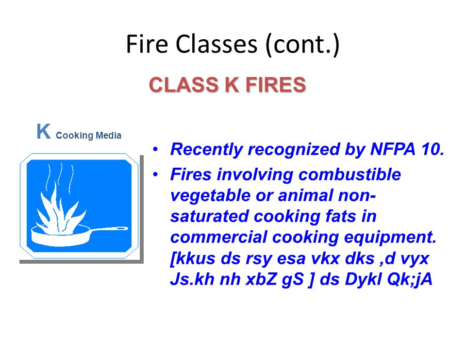 Fire Classes (cont.) CLASS K FIRES K Cooking Media