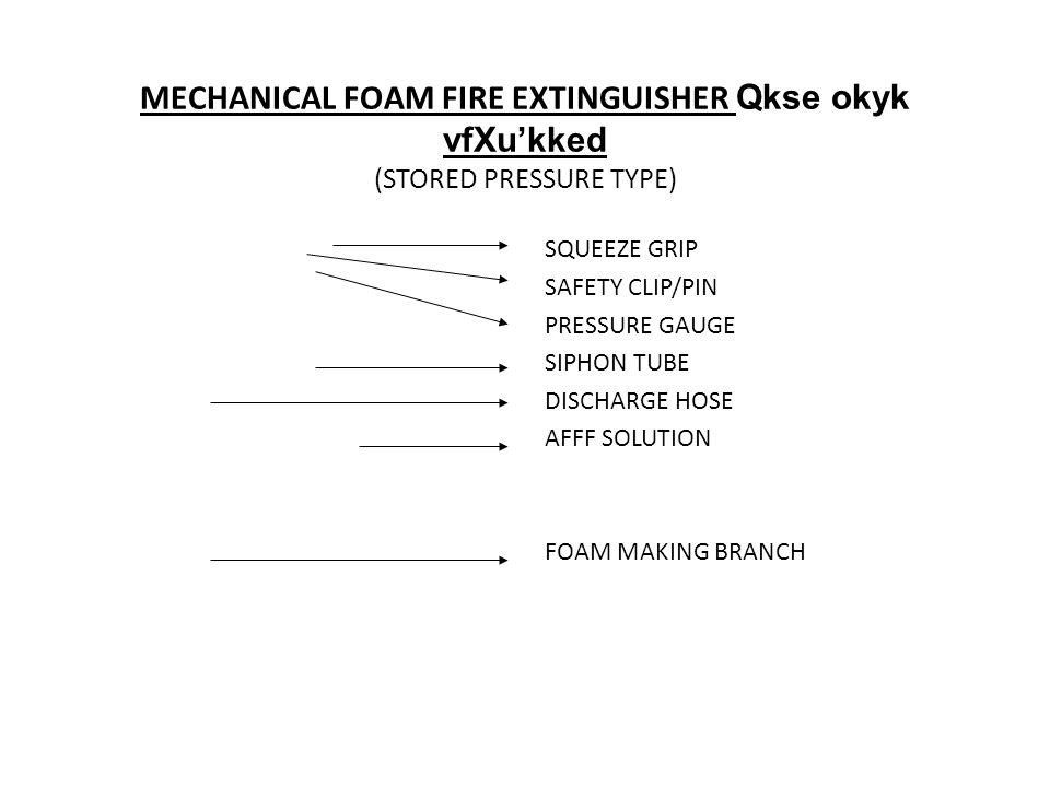 MECHANICAL FOAM FIRE EXTINGUISHER Qkse okyk vfXu'kked (STORED PRESSURE TYPE)