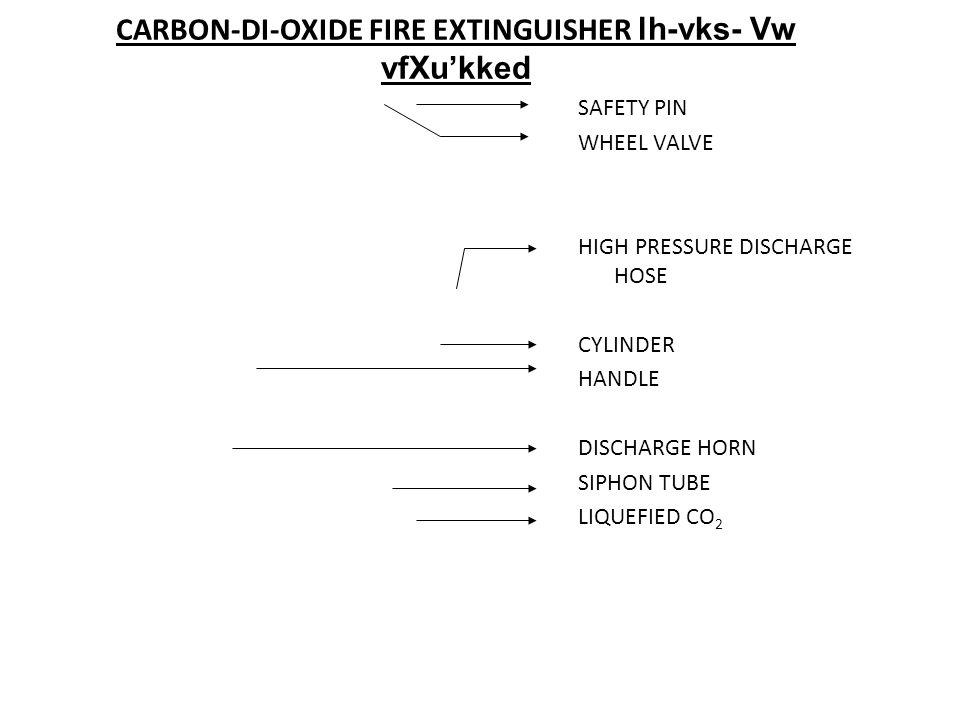 CARBON-DI-OXIDE FIRE EXTINGUISHER lh-vks- Vw vfXu'kked
