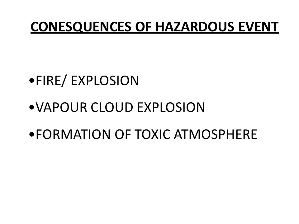 CONESQUENCES OF HAZARDOUS EVENT