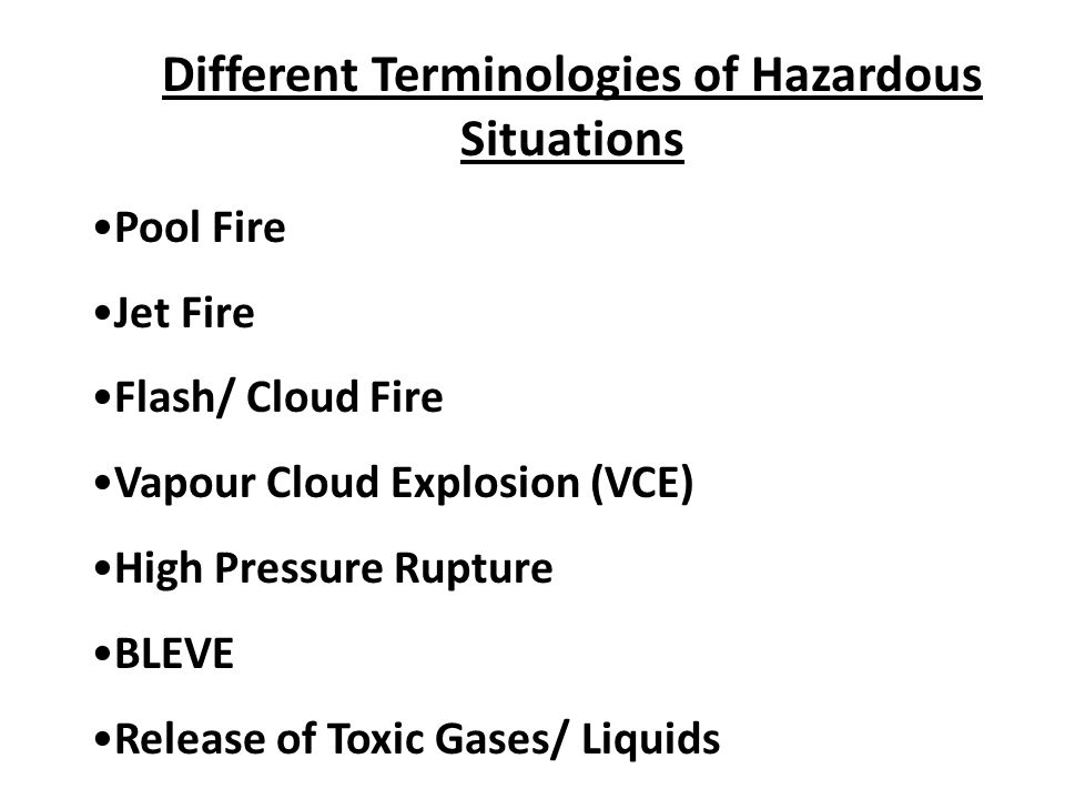 Different Terminologies of Hazardous Situations