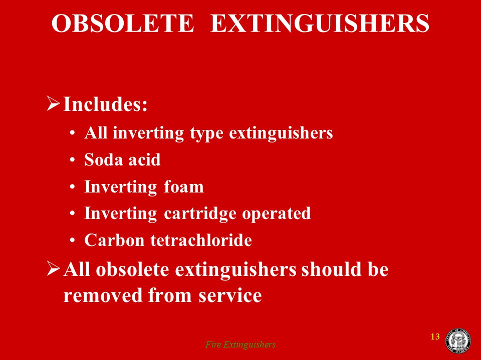 OBSOLETE EXTINGUISHERS