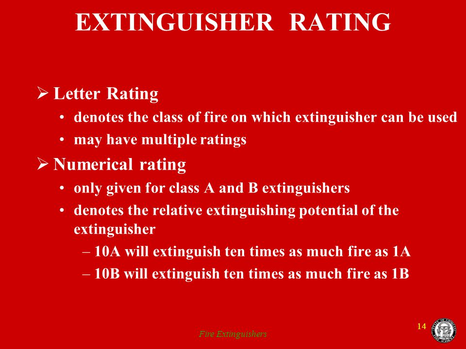 EXTINGUISHER RATING Letter Rating Numerical rating