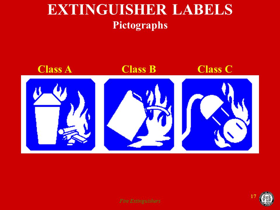 EXTINGUISHER LABELS Pictographs