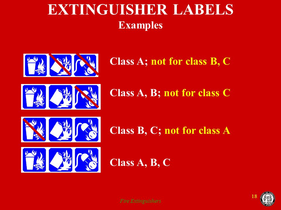 EXTINGUISHER LABELS Examples