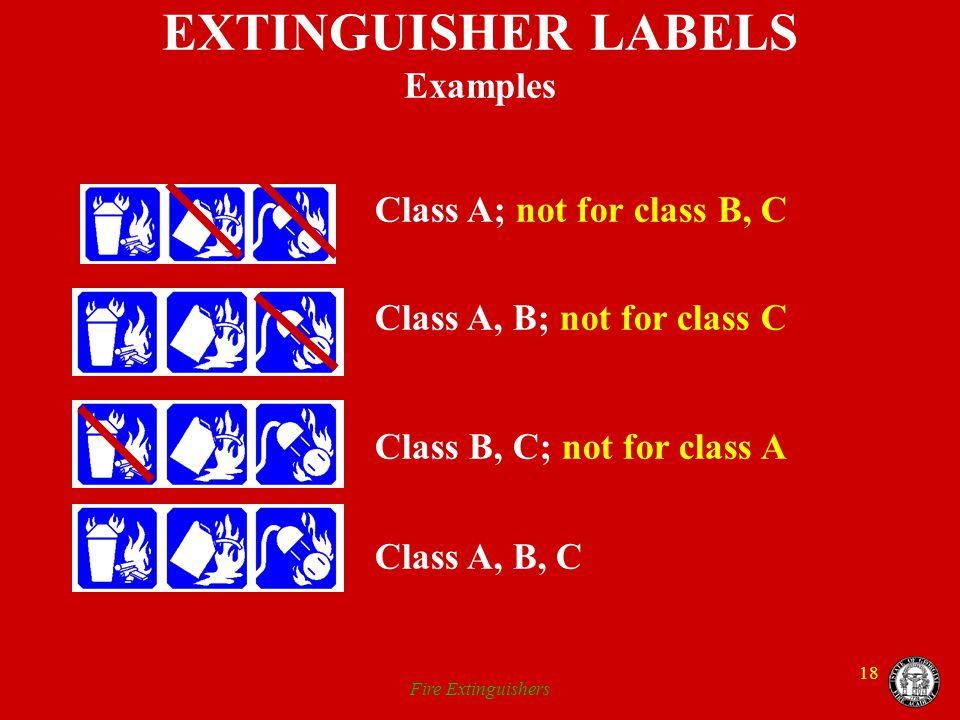 EXTINGUISHER LABELS Examples