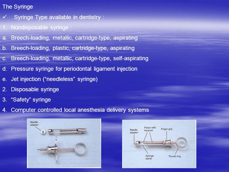 The Syringe Syringe Type available in dentistry : Nondisposable syringe : Breech-loading, metallic, cartridge-type, aspirating.