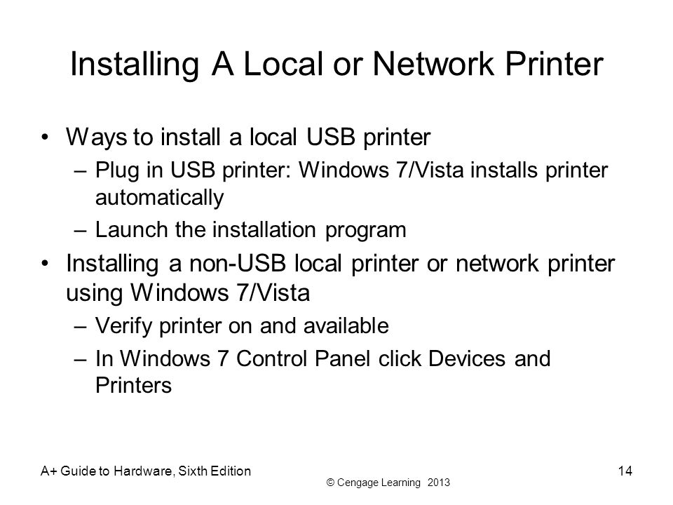 Installing A Local or Network Printer