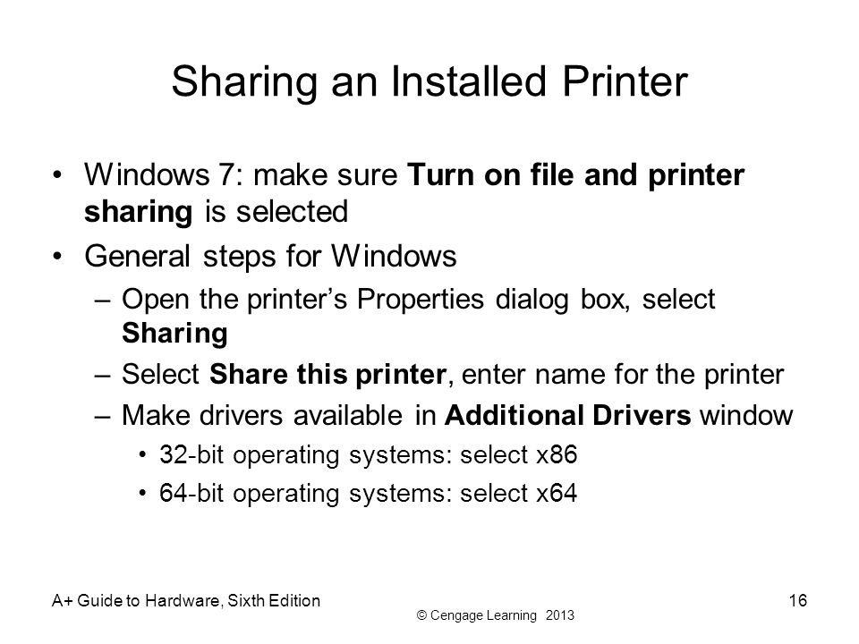 Sharing an Installed Printer