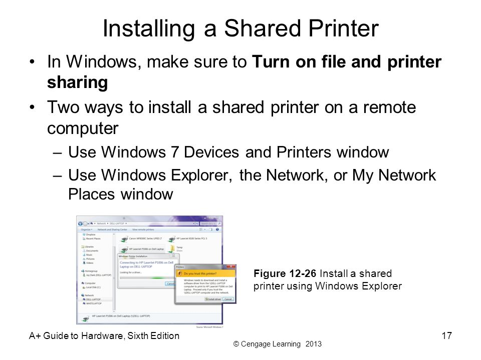 Installing a Shared Printer