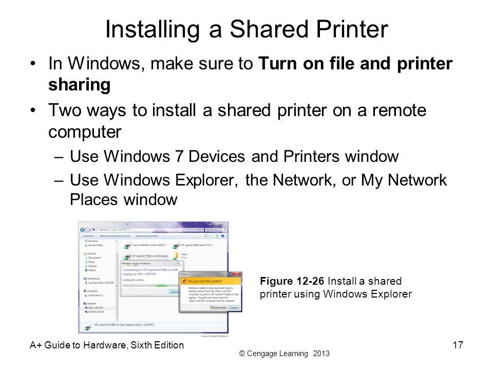 Installing a Shared Printer