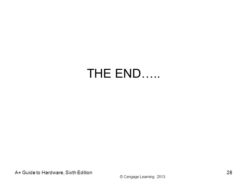 THE END….. A+ Guide to Hardware, Sixth Edition