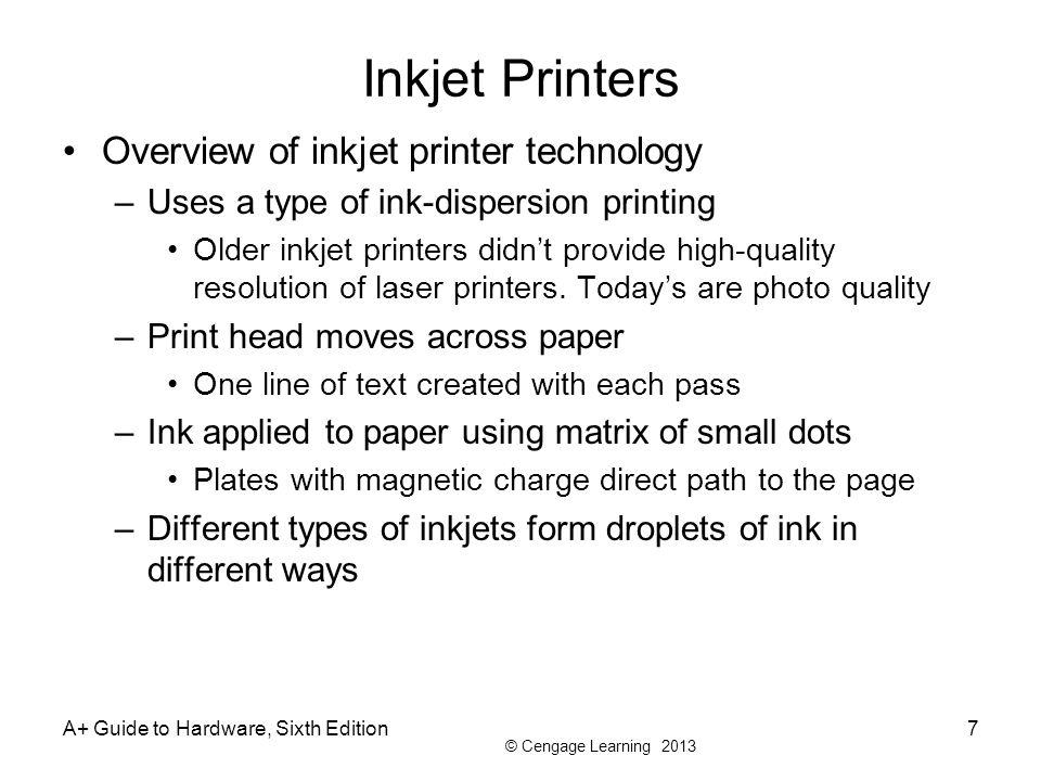 Inkjet Printers Overview of inkjet printer technology