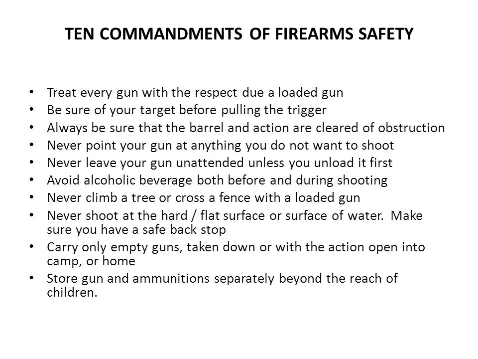 TEN COMMANDMENTS OF FIREARMS SAFETY