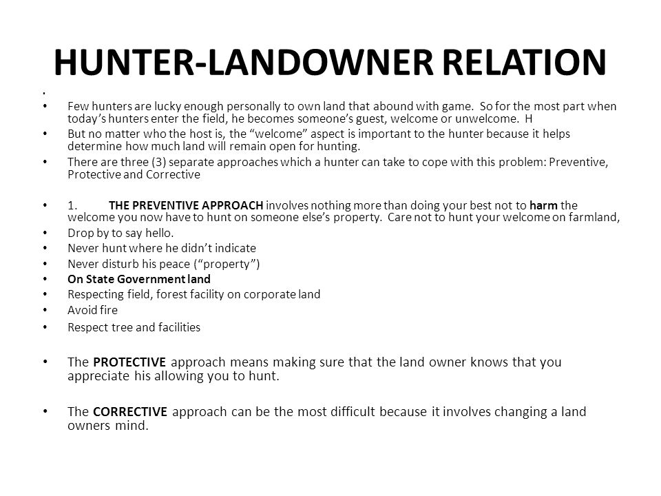HUNTER-LANDOWNER RELATION