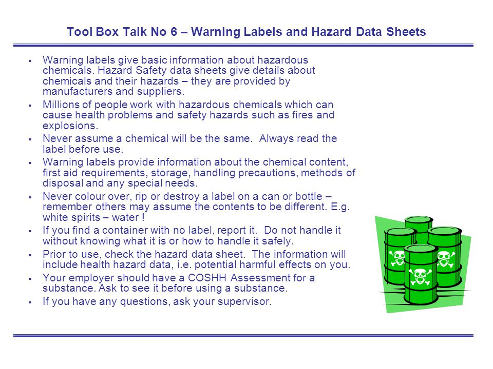 Tool Box Talk No 6 – Warning Labels and Hazard Data Sheets