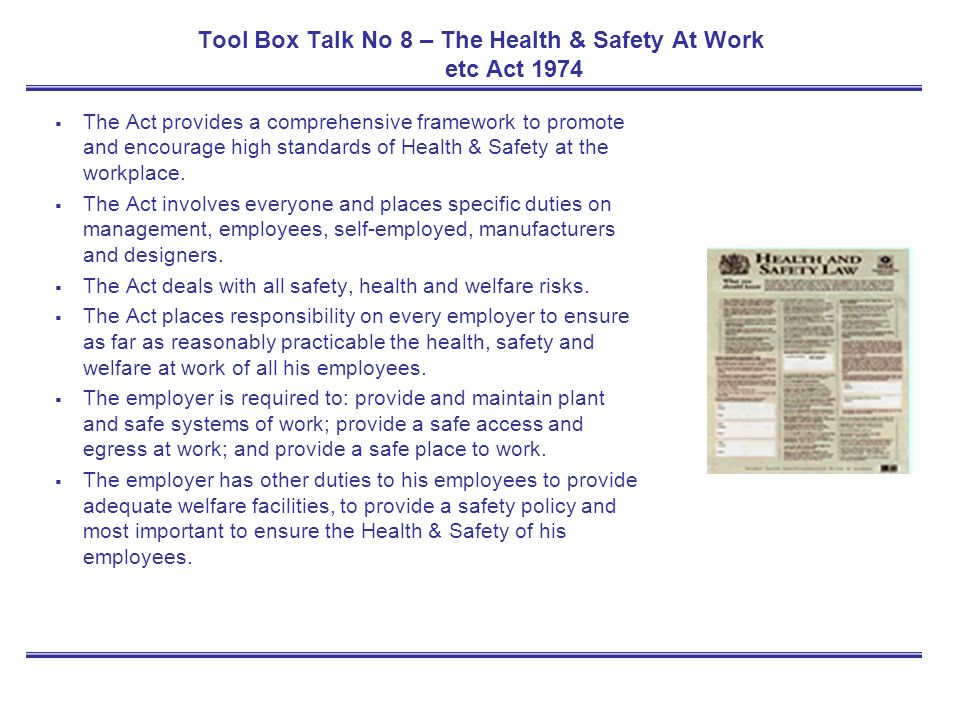 Tool Box Talk No 8 – The Health & Safety At Work etc Act 1974