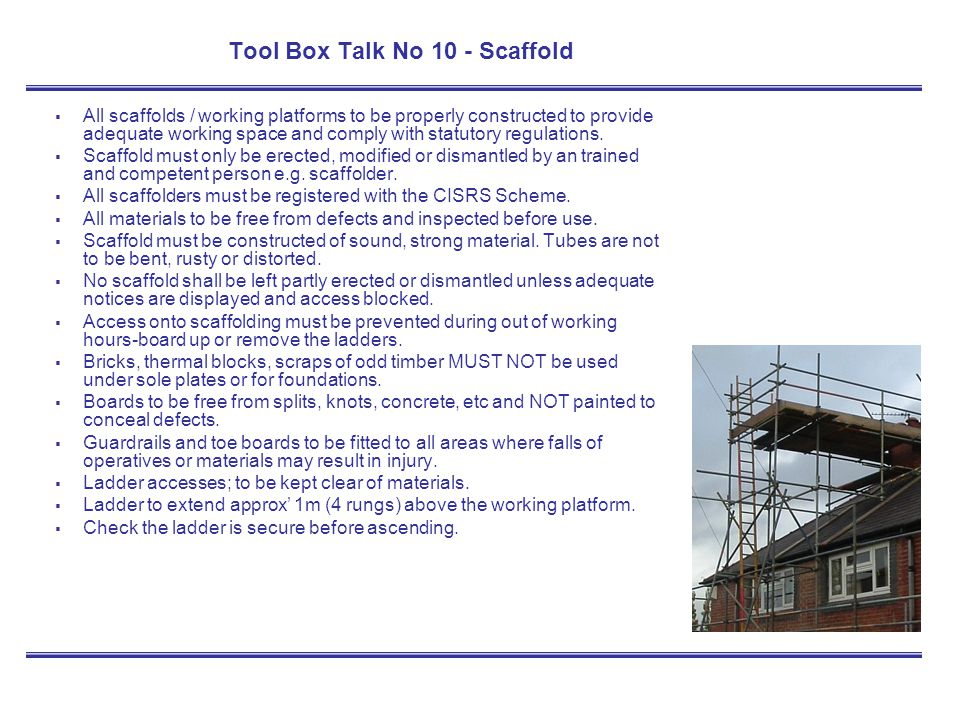 Tool Box Talk No 10 - Scaffold