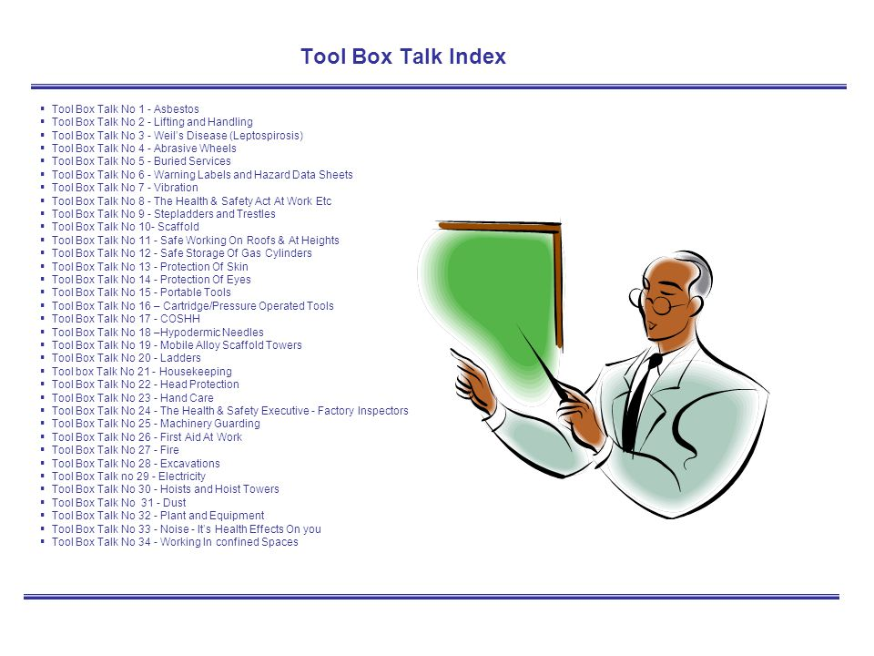 Tool Box Talk Index Tool Box Talk No 1 - Asbestos