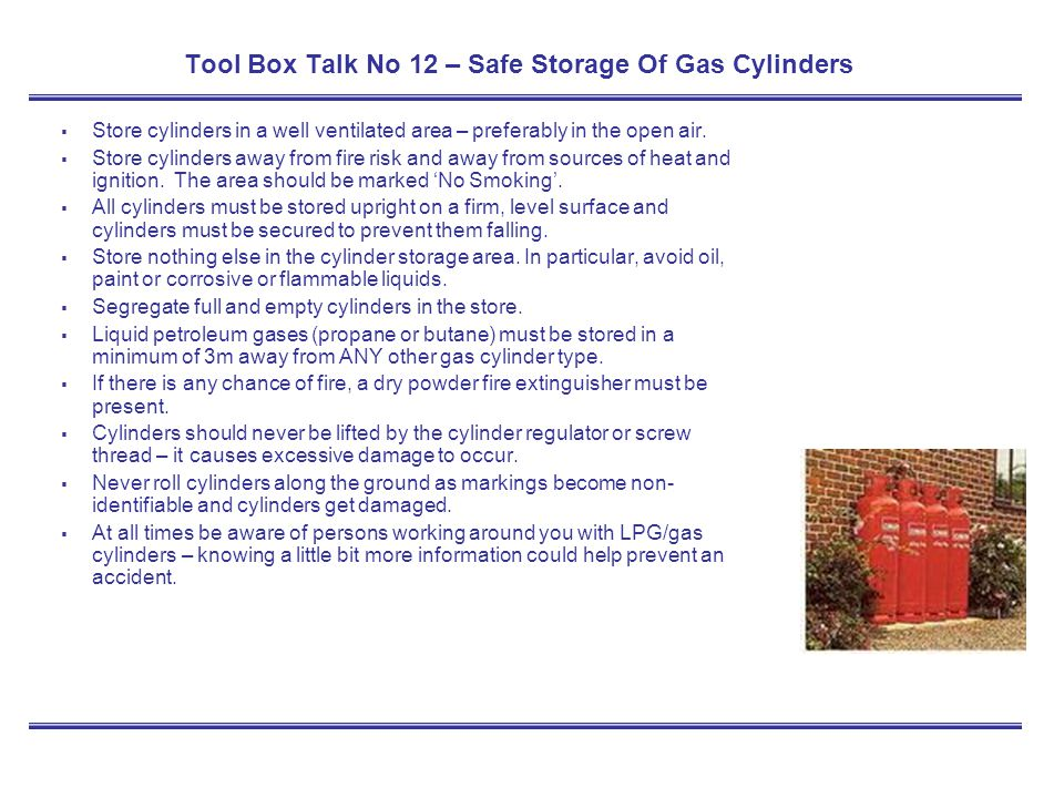 Tool Box Talk No 12 – Safe Storage Of Gas Cylinders