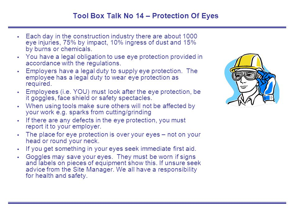 Tool Box Talk No 14 – Protection Of Eyes