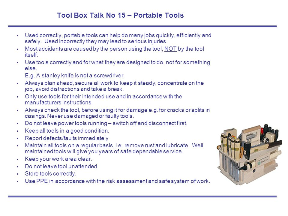 Tool Box Talk No 15 – Portable Tools