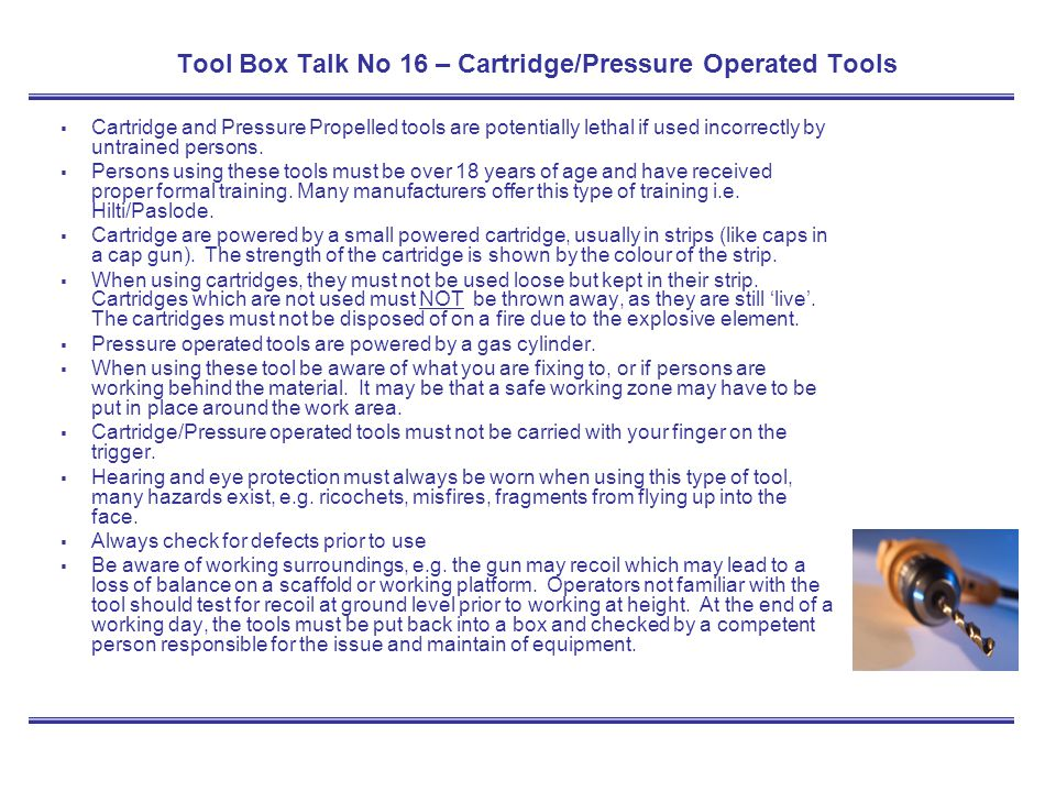 Tool Box Talk No 16 – Cartridge/Pressure Operated Tools