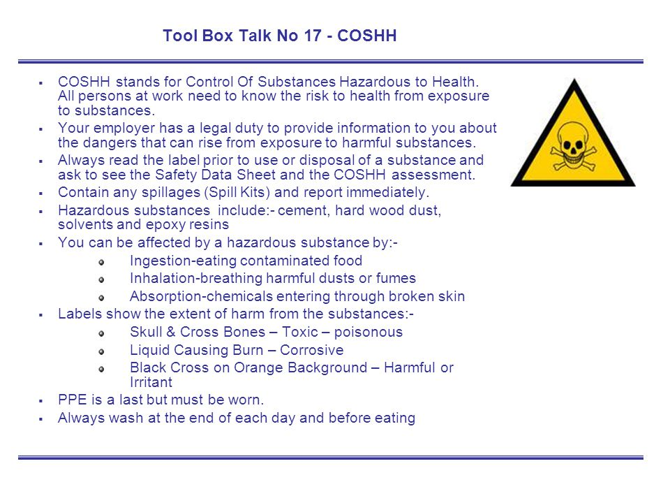 Tool Box Talk No 17 - COSHH