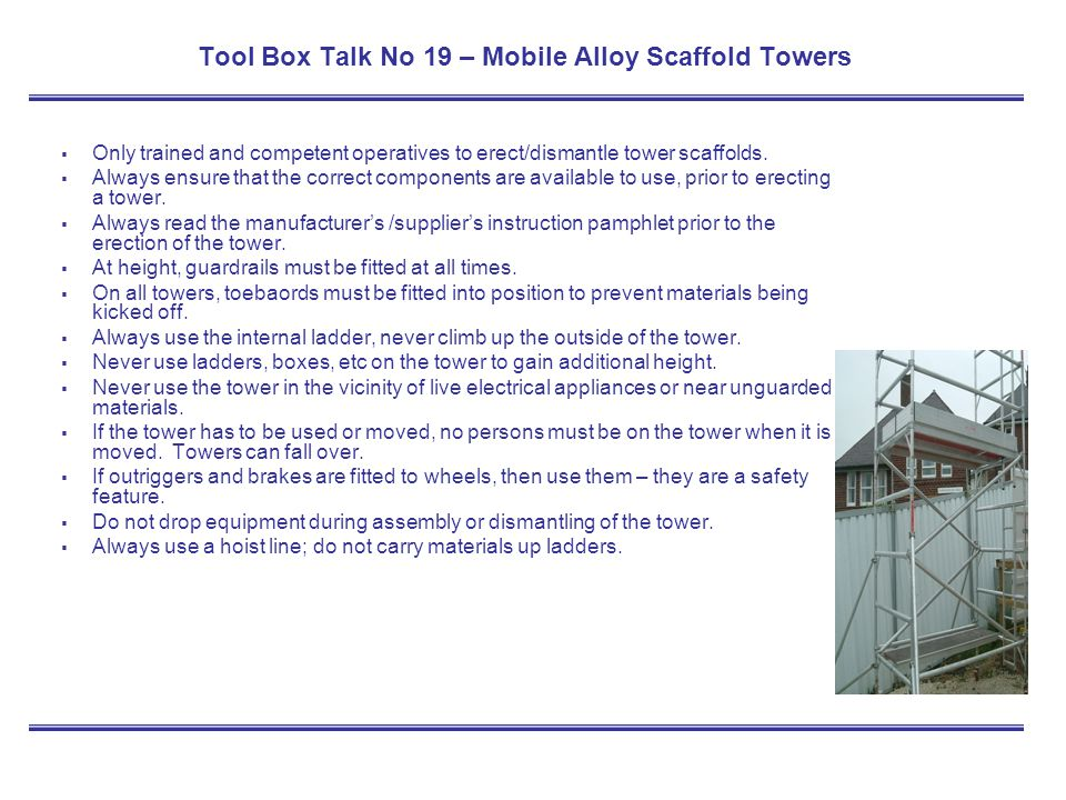 Tool Box Talk No 19 – Mobile Alloy Scaffold Towers