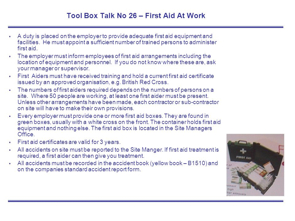 Tool Box Talk No 26 – First Aid At Work