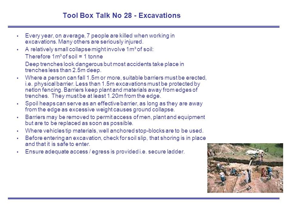 Tool Box Talk No 28 - Excavations