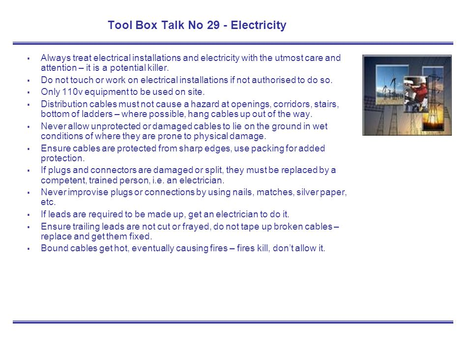 Tool Box Talk No 29 - Electricity