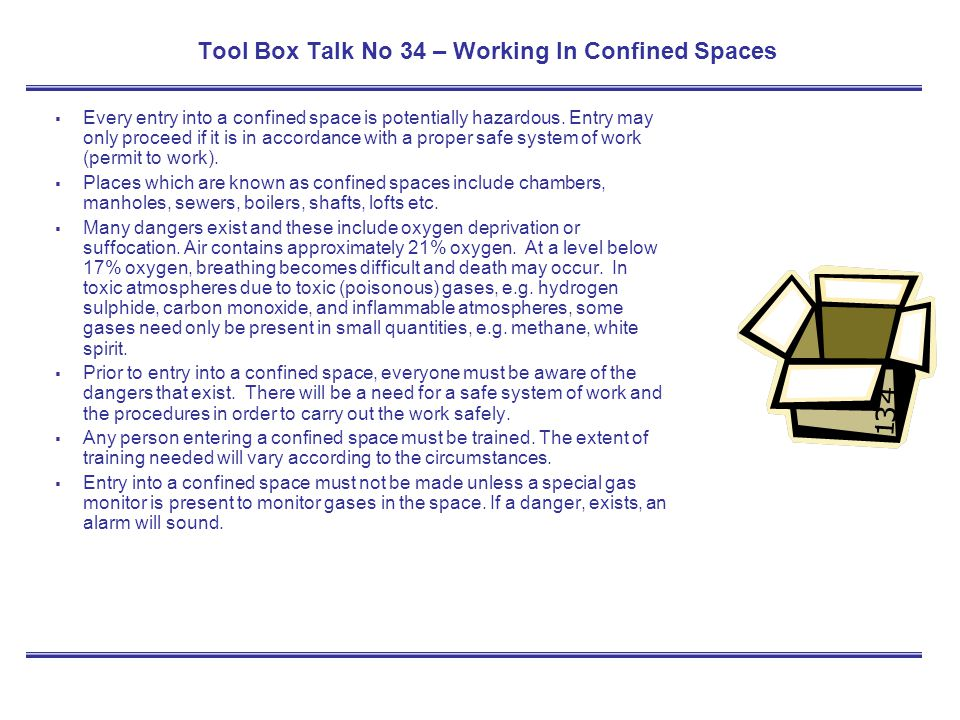 Tool Box Talk No 34 – Working In Confined Spaces
