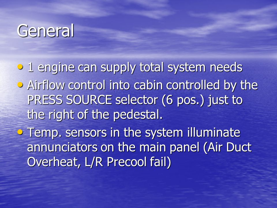 General 1 engine can supply total system needs