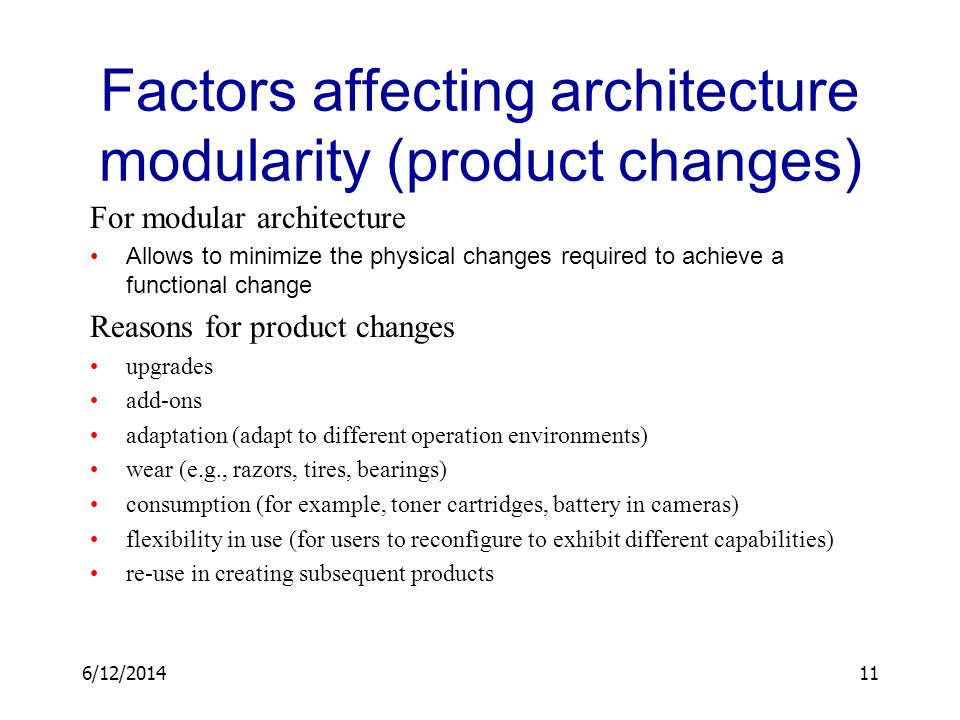 Factors affecting architecture modularity (product changes)