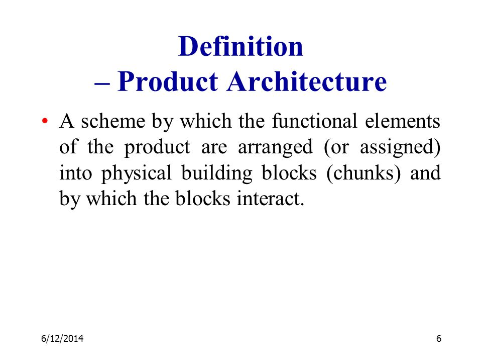 Definition – Product Architecture