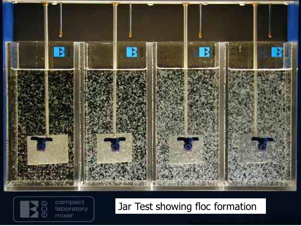 Jar Test showing floc formation