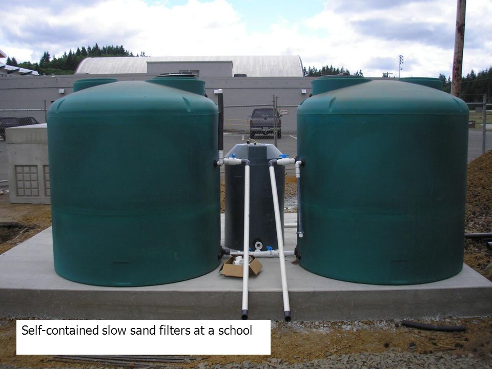 Self-contained slow sand filters at a school