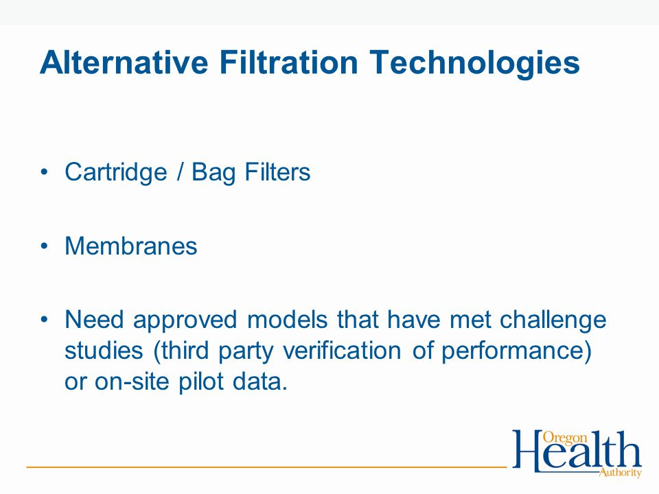 Alternative Filtration Technologies