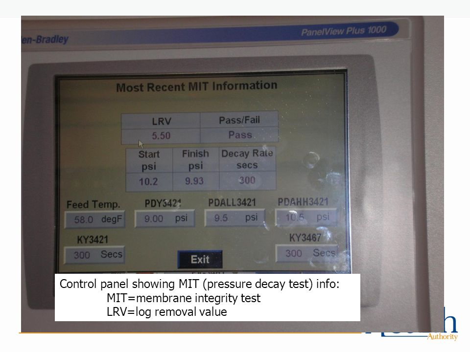 Control panel showing MIT (pressure decay test) info: