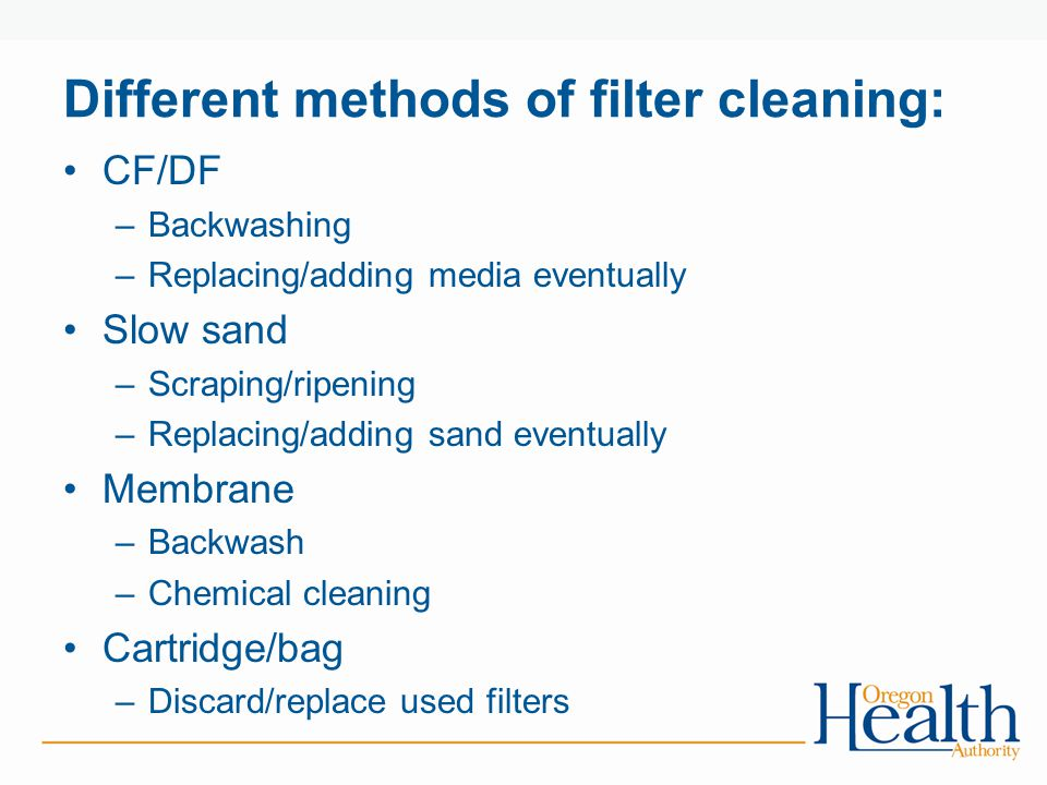 Different methods of filter cleaning: