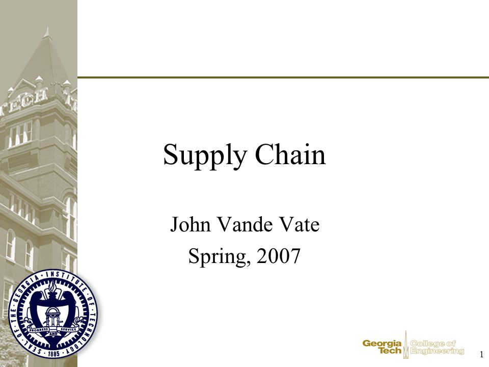 Supply Chain John Vande Vate Spring, 2007 1