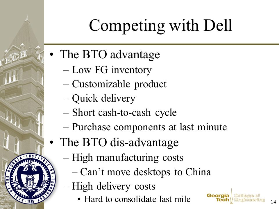 Competing with Dell The BTO advantage The BTO dis-advantage