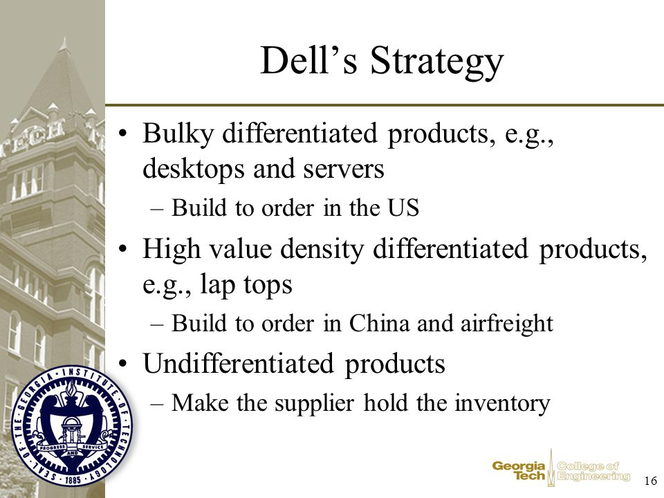 Dell's Strategy Bulky differentiated products, e.g., desktops and servers. Build to order in the US.