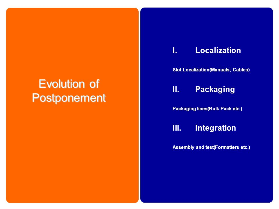 Evolution of Postponement