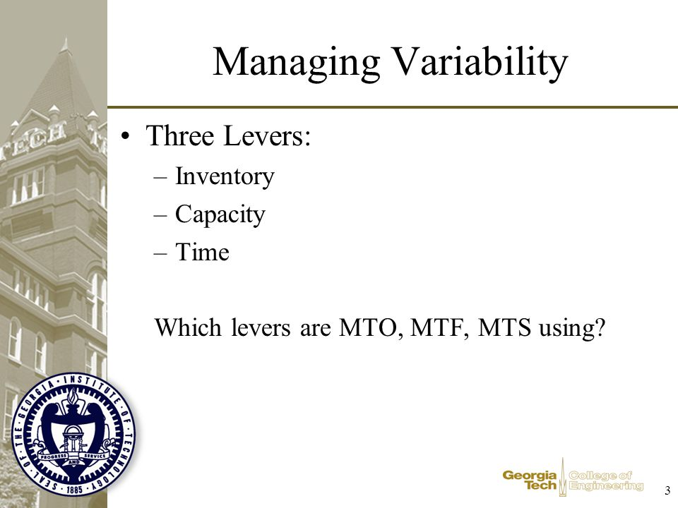 Managing Variability Three Levers: Inventory Capacity Time